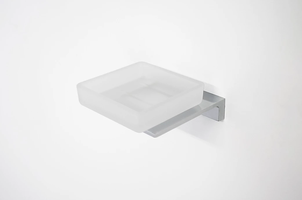 Time Square Soap Dish Chrome / Frosted Glass