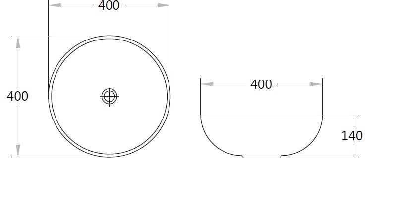 Matte Grey PA4040MG Fine Ceramic Basin