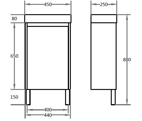 WH-CTite ployurethane PVC – Narrow Vanity PF450LLG