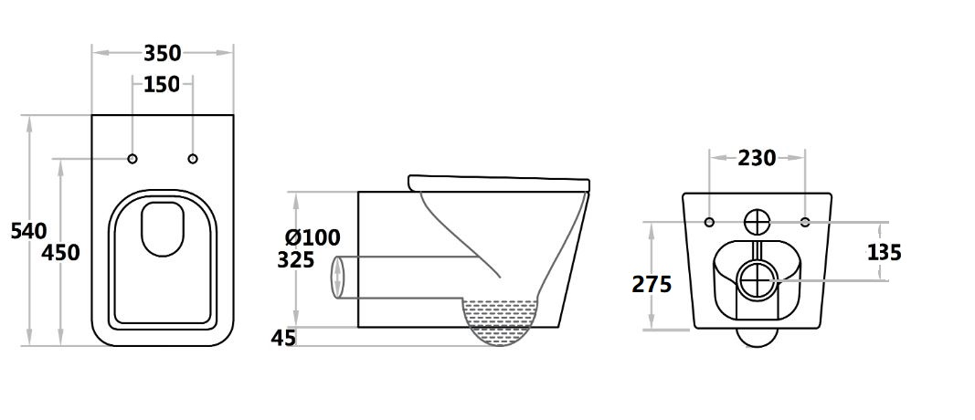 Toilet Qubist Black Wall Hung Pan QB303WHPB